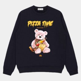 Pizza Time Bear Print Sweatshirt 1 - Orezoria Aesthetic Outfits Shop - Aesthetic Clothing - eGirl Outfits - Soft Girl Outfits