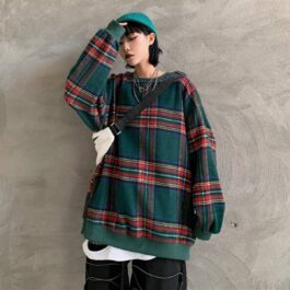 Plaid Grid Green Oversized Pullover.1- Orezoria Aesthetic Outfits Shop - Aesthetic Clothing - eGirl Outfits - Soft Girl Outfits