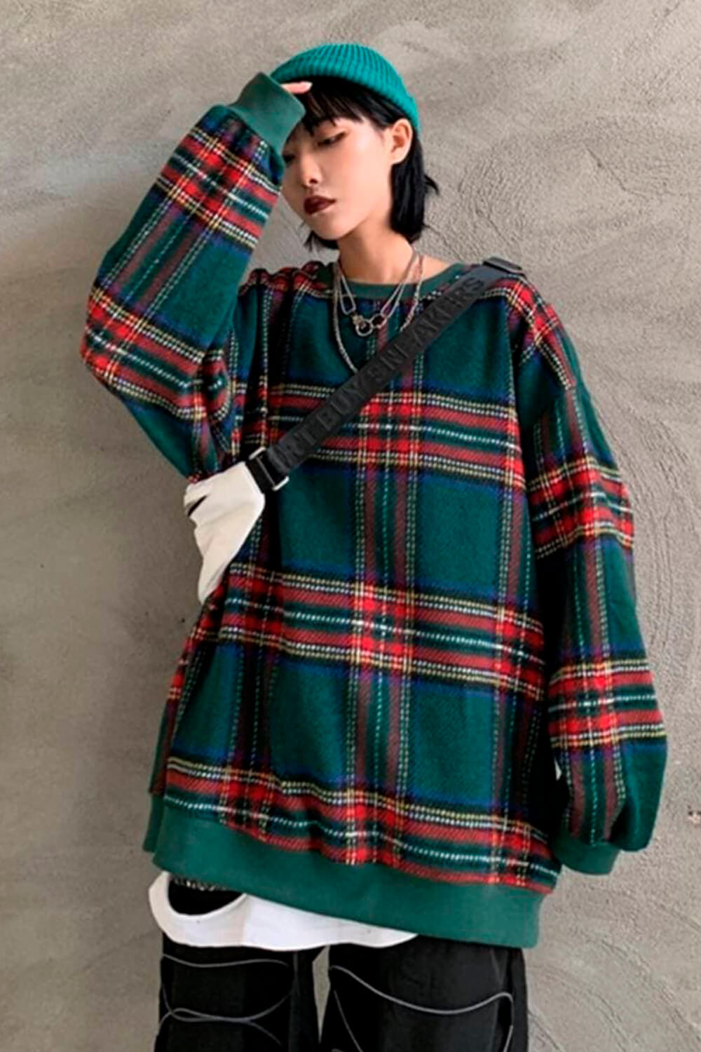 Plaid Grid Green Oversized Pullover