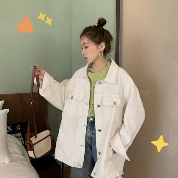 Please Stand By Psychedelic Denim Jacket.1- Orezoria Aesthetic Outfits Shop - Aesthetic Clothing - eGirl Outfits - Soft Girl Outfits