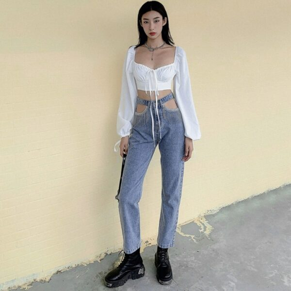 Pocket Cuts Vintage Aesthetic Jeans - Orezoria Aesthetic Outfits Shop - Aesthetic Clothing - eGirl Outfits - Soft Girl Outfits.psd