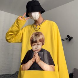 Praying Kid Oversized Long Sleeve 3 - Orezoria Aesthetic Outfits Shop - Aesthetic Clothing - eGirl Outfits - Soft Girl Outfits.psd