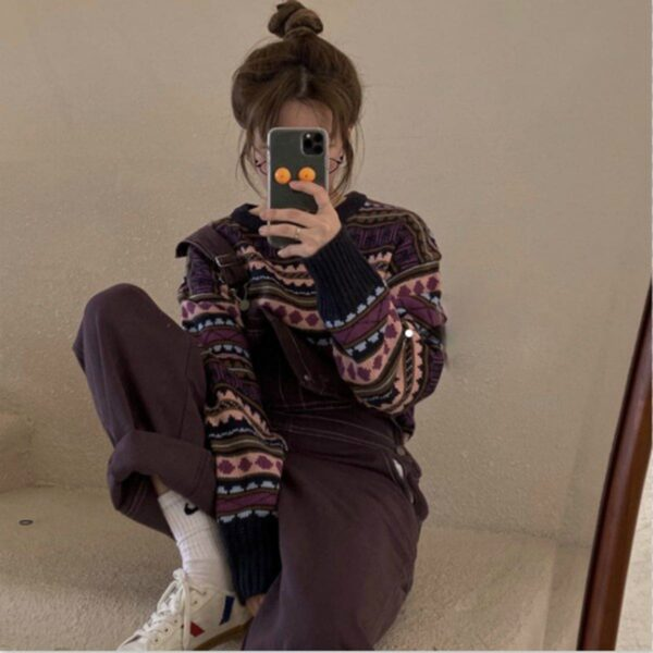 Purple 90s Aesthetic Geometric Pattern Sweater 4- Orezoria Aesthetic Outfits Shop - Aesthetic Clothing - eGirl Outfits - Soft Girl Outfits.psd