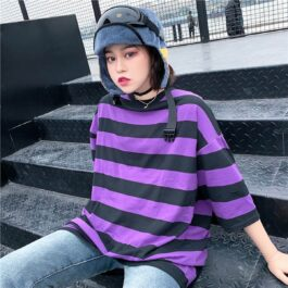 Purple Aesthetic Thick Striped T-Shirt 1- Orezoria Aesthetic Outfits Shop - Aesthetic Clothing - eGirl Outfits - Soft Girl Outfits