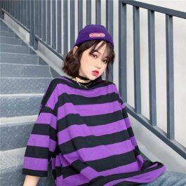 Purple Aesthetic Thick Striped T-Shirt 2- Orezoria Aesthetic Outfits Shop - Aesthetic Clothing - eGirl Outfits - Soft Girl Outfits
