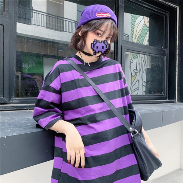 Purple Aesthetic Thick Striped T-Shirt 3- Orezoria Aesthetic Outfits Shop - Aesthetic Clothing - eGirl Outfits - Soft Girl Outfits