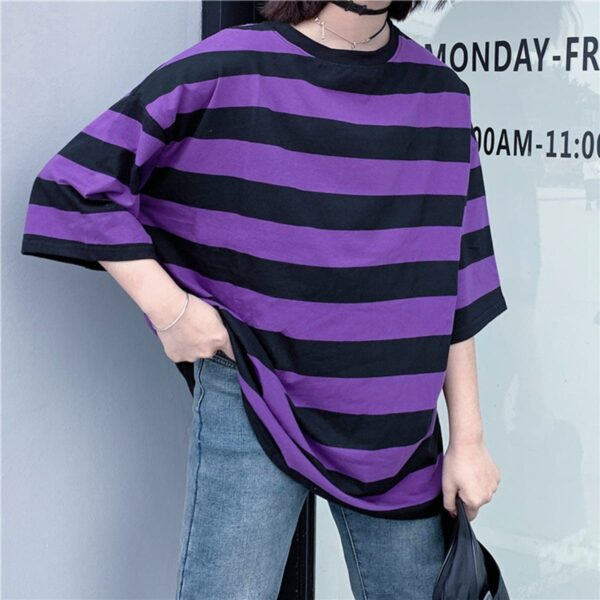 Purple Aesthetic Thick Striped T-Shirt 4- Orezoria Aesthetic Outfits Shop - Aesthetic Clothing - eGirl Outfits - Soft Girl Outfits