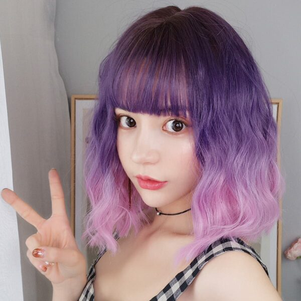 Purple Pink Gradient EGirl Aesthetic Wig 1- Orezoria Aesthetic Outfits Shop - Aesthetic Clothing - eGirl Outfits - Soft Girl Outfits (2)