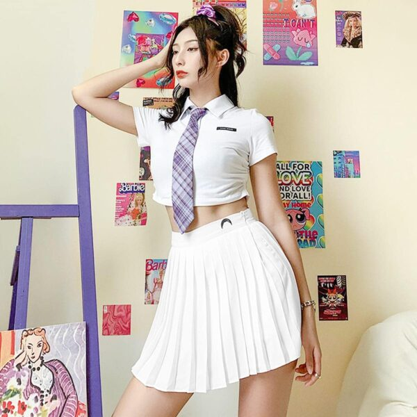 Purple Tie White Cropped School Top 2- Orezoria Aesthetic Outfits Shop - Aesthetic Clothing - eGirl Outfits - Soft Girl Outfits