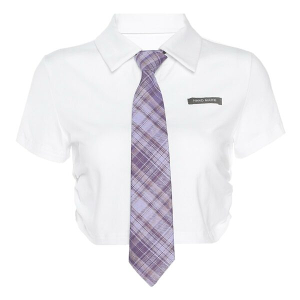 Purple Tie White Cropped School Top 5- Orezoria Aesthetic Outfits Shop - Aesthetic Clothing - eGirl Outfits - Soft Girl Outfits