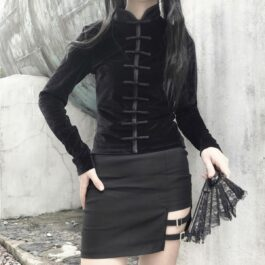 Qipao Dark Core Vampire Long Sleeve Top 1- Orezoria Aesthetic Outfits Shop - Aesthetic Clothing - eGirl Outfits - Soft Girl Outfits