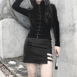 Qipao Dark Core Vampire Long Sleeve Top 2- Orezoria Aesthetic Outfits Shop - Aesthetic Clothing - eGirl Outfits - Soft Girl Outfits