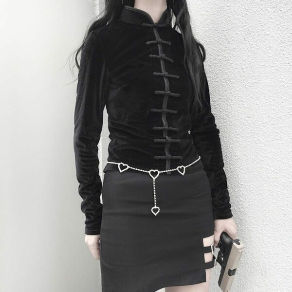 Qipao Dark Core Vampire Long Sleeve Top 3- Orezoria Aesthetic Outfits Shop - Aesthetic Clothing - eGirl Outfits - Soft Girl Outfits