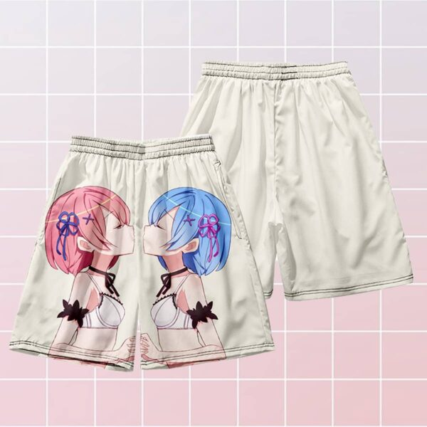 RE Zero Sisters Ram and Rem Aesthetic Shorts (3)- Orezoria Aesthetic Outfits Shop - Aesthetic Clothing - eGirl Outfits - Soft Girl Outfits