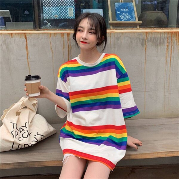 Rainbow Aesthetic Oversized T-Shirt 1- Orezoria Aesthetic Outfits Shop - Aesthetic Clothing - eGirl Outfits - Soft Girl Outfits.psd