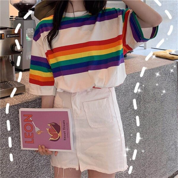 Rainbow Aesthetic Oversized T-Shirt 2- Orezoria Aesthetic Outfits Shop - Aesthetic Clothing - eGirl Outfits - Soft Girl Outfits.psd