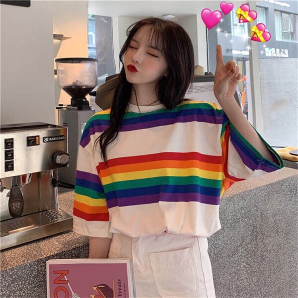 Rainbow Aesthetic Oversized T-Shirt 3- Orezoria Aesthetic Outfits Shop - Aesthetic Clothing - eGirl Outfits - Soft Girl Outfits.psd