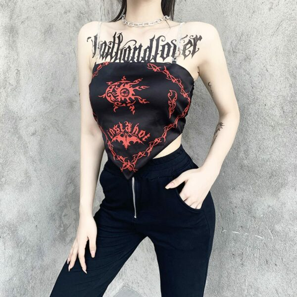 Red Curse Printed Insta Hot Tube Top 2- Orezoria Aesthetic Outfits Shop - Aesthetic Clothing - eGirl Outfits - Soft Girl Outfits