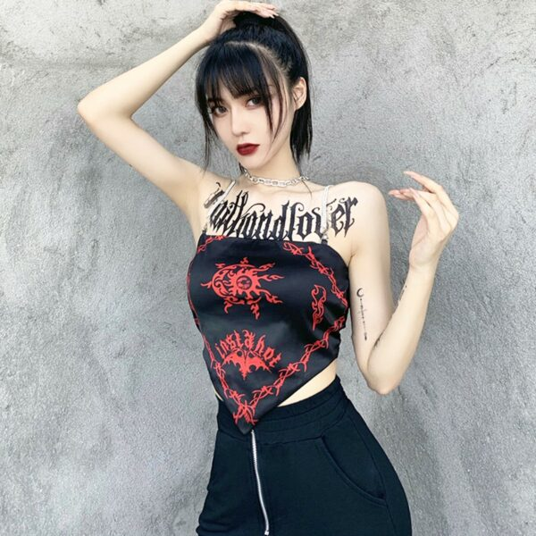 Red Curse Printed Insta Hot Tube Top 3- Orezoria Aesthetic Outfits Shop - Aesthetic Clothing - eGirl Outfits - Soft Girl Outfits