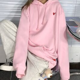 Red Heart Embroidery Oversized Hoodie (1)- Orezoria Aesthetic Outfits Shop - Aesthetic Clothing - eGirl Outfits - Soft Girl Outfits