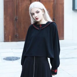 Red Rose Embroidery Goth Core Long Sleeve 1- Orezoria Aesthetic Outfits Shop - Aesthetic Clothing - eGirl Outfits - Soft Girl Outfits