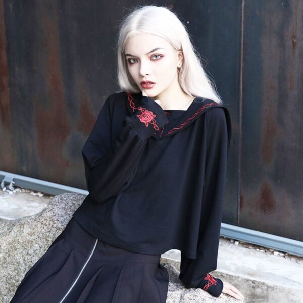 Red Rose Embroidery Goth Core Long Sleeve 2- Orezoria Aesthetic Outfits Shop - Aesthetic Clothing - eGirl Outfits - Soft Girl Outfits