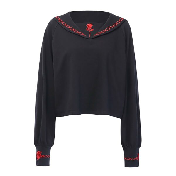 Red Rose Embroidery Goth Core Long Sleeve 4- Orezoria Aesthetic Outfits Shop - Aesthetic Clothing - eGirl Outfits - Soft Girl Outfits