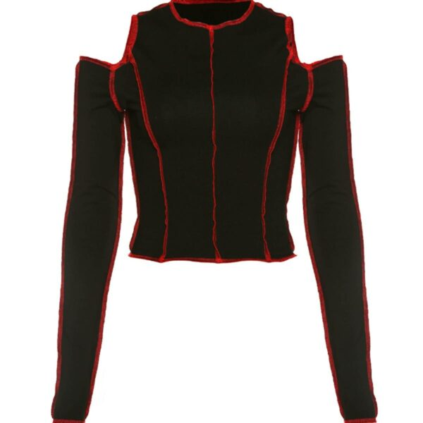 Red Stitches Open Shoulder Crop Top 3 - Orezoria Aesthetic Outfits Shop - Aesthetic Clothing - eGerl Outfits Soft Gerl Outfits.spd