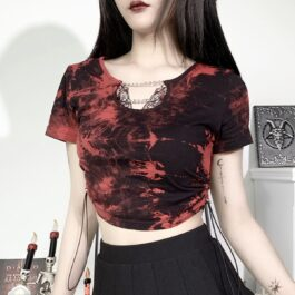 Red Tie Dye Grunge Chains Crop Top 1- Orezoria Aesthetic Outfits Shop - Aesthetic Clothing - eGirl Outfits - Soft Girl Outfits