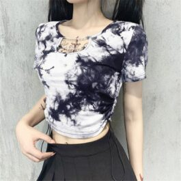 Red Tie Dye Grunge Chains Crop Top 2- Orezoria Aesthetic Outfits Shop - Aesthetic Clothing - eGirl Outfits - Soft Girl Outfits