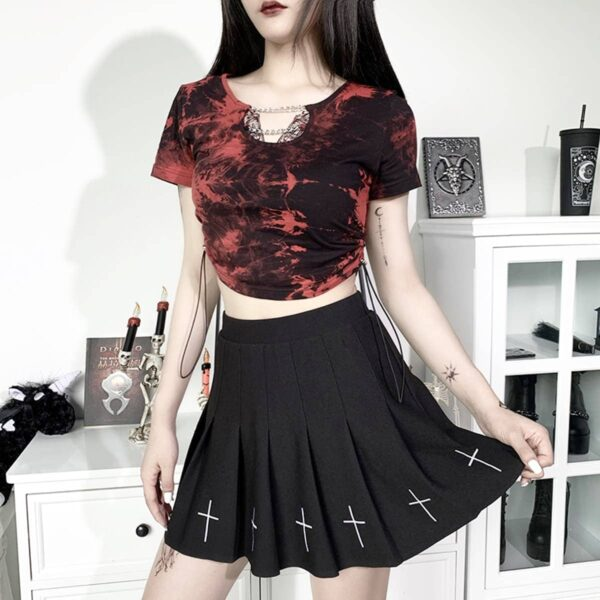 Red Tie Dye Grunge Chains Crop Top 3- Orezoria Aesthetic Outfits Shop - Aesthetic Clothing - eGirl Outfits - Soft Girl Outfits