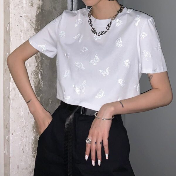 Reflective Butterflies Pattern Crop Top 2 - Orezoria Aesthetic Outfits Shop - Aesthetic Clothing - eGirl Outfits - Soft Girl Outfits
