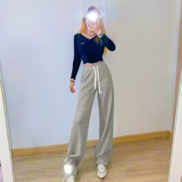Reflective Lace Loose Gray Pants 2- Orezoria Aesthetic Outfits Shop - Aesthetic Clothing - eGirl Outfits - Soft Girl Outfits