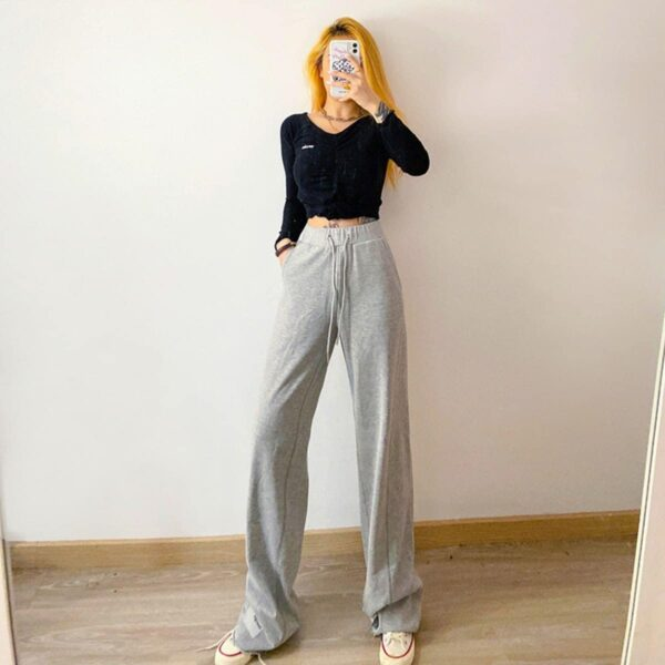 Reflective Lace Loose Gray Pants 3- Orezoria Aesthetic Outfits Shop - Aesthetic Clothing - eGirl Outfits - Soft Girl Outfits