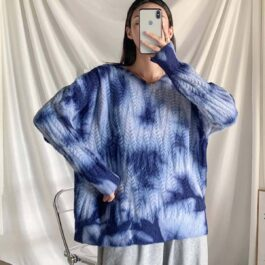 Retro Aesthetic Tie Dye Knitted Sweater - Orezoria Aesthetic Outfits Shop - Aesthetic Clothing - eGirl Outfits - Soft Girl Outfits.psd