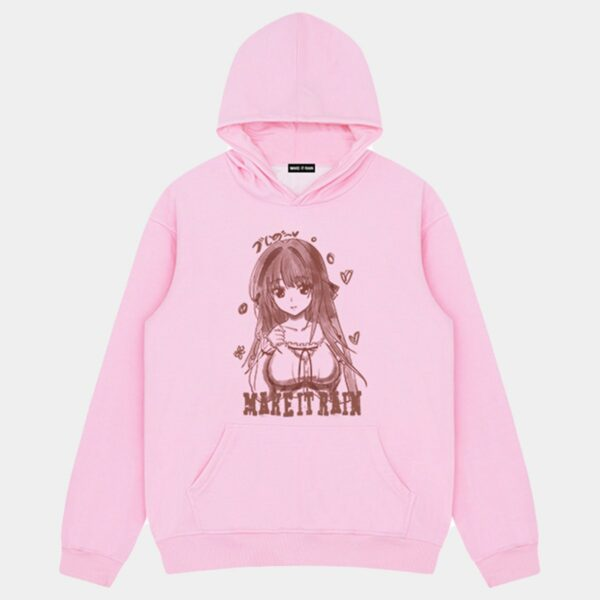 Retro Anime Girl Pink Core Hoodie 1 - Orezoria Aesthetic Outfits Shop - Aesthetic Clothing - eGirl Outfits - Soft Girl Outfits