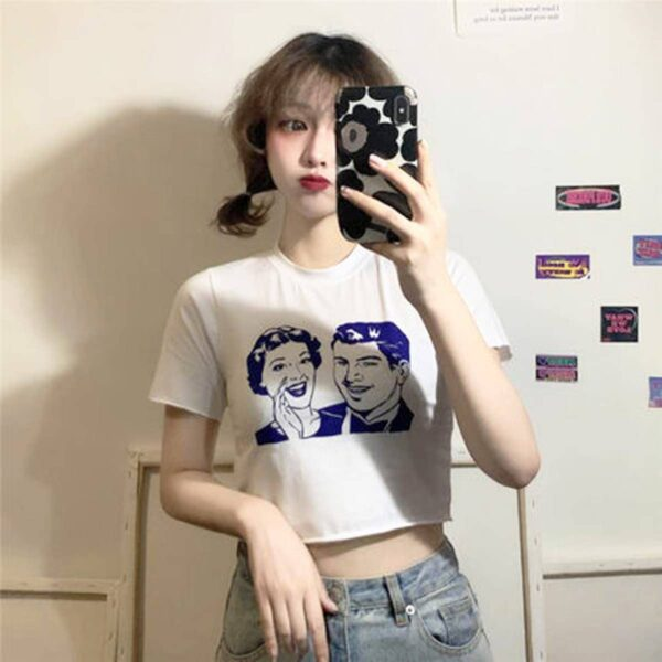 Retro Classic Pin Up Rumors Crop Top 2 - Orezoria Aesthetic Outfits Shop - Aesthetic Clothing - eGirl Outfits - Soft Girl Outfits