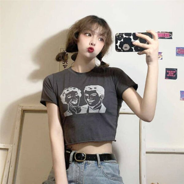 Retro Classic Pin Up Rumors Crop Top 3 - Orezoria Aesthetic Outfits Shop - Aesthetic Clothing - eGirl Outfits - Soft Girl Outfits