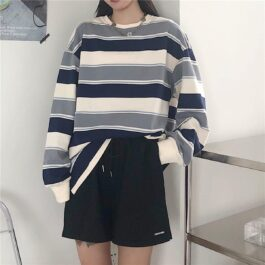 Retro Contrast Stripped Sweatshirt 2- Orezoria Aesthetic Outfits Shop - Aesthetic Clothing - eGirl Outfits - Soft Girl Outfits