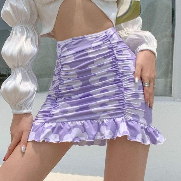 Retro FLower 70s Aesthetic Folded Skirt - Orezoria Aesthetic Outfits Shop - Aesthetic Clothing - eGirl Outfits - Soft Girl Outfits.psd