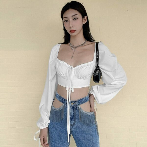 Retro French Puff Sleeve Cropped Top 3 - Orezoria Aesthetic Outfits Shop - Aesthetic Clothing - eGirl Outfits - Soft Girl Outfits.psd