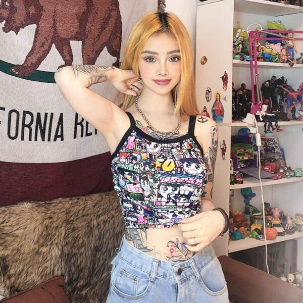 Retro Manga Comic Cropped Tank Top 1- Orezoria Aesthetic Outfits Shop - Aesthetic Clothing - eGirl Outfits - Soft Girl Outfits