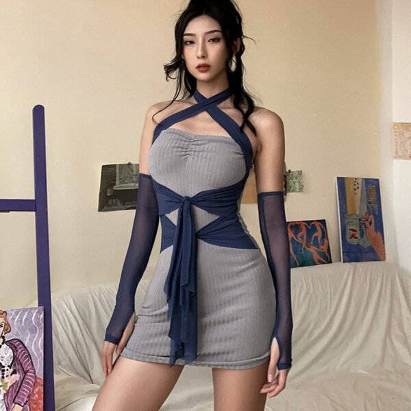 Retro Mesh Separate Sleeves X Dress - Orezoria Aesthetic Outfits Shop - Aesthetic Clothing - eGirl Outfits - Soft Girl