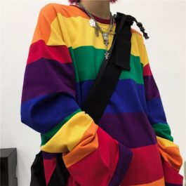Retro Rainbow Aesthetic Long Sleeve 1- Orezoria Aesthetic Outfits Shop - Aesthetic Clothing - eGirl Outfits - Soft Girl Outfits