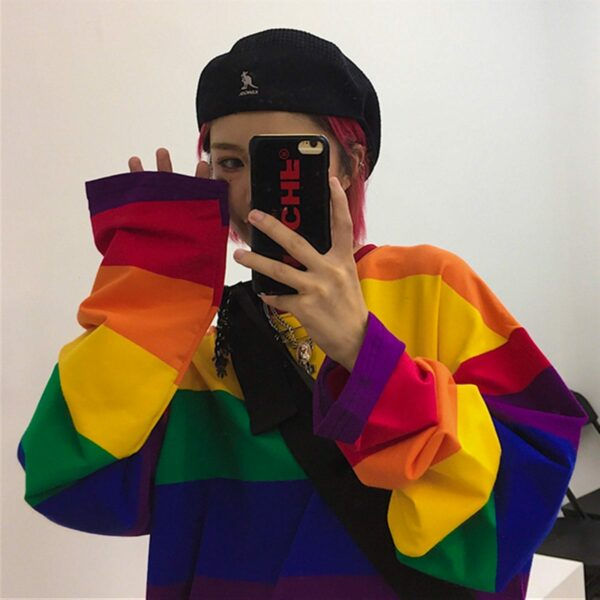 Retro Rainbow Aesthetic Long Sleeve 2- Orezoria Aesthetic Outfits Shop - Aesthetic Clothing - eGirl Outfits - Soft Girl Outfits