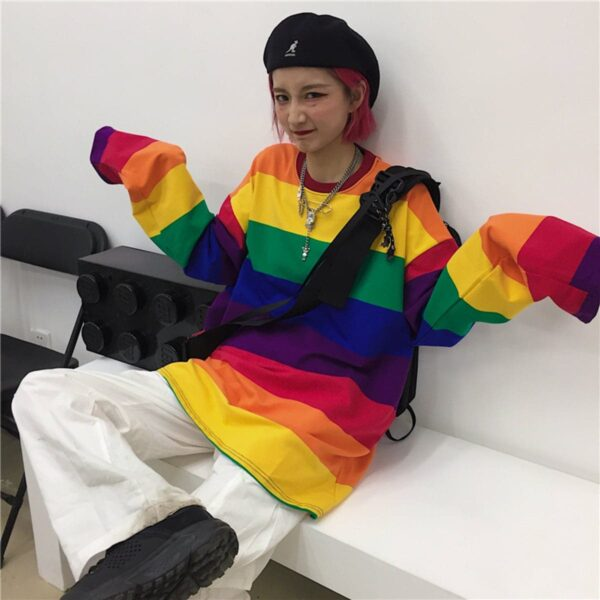 Retro Rainbow Aesthetic Long Sleeve 3- Orezoria Aesthetic Outfits Shop - Aesthetic Clothing - eGirl Outfits - Soft Girl Outfits