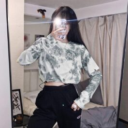 Rock More Tie Dye Split Sleeve Top - Orezoria Aesthetic Outfits Shop - Aesthetic Clothing - eGirl Outfits - Soft Girl Outfits.psd