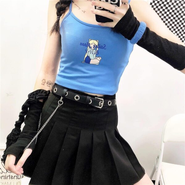 Sailor Moon Light Blue Crop Top 6- Orezoria Aesthetic Outfits Shop - Aesthetic Clothing - eGirl Outfits - Soft Girl Outfits