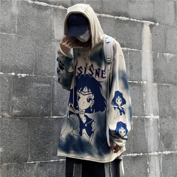Sailor Saturn Anime Loose Unisex Hoodie.1- Orezoria Aesthetic Outfits Shop - Aesthetic Clothing - eGirl Outfits - Soft Girl Outfits