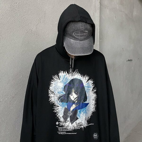 Sailor Saturn Icy Heart Unisex Hoodie.1- Orezoria Aesthetic Outfits Shop - Aesthetic Clothing - eGirl Outfits - Soft Girl Outfits
